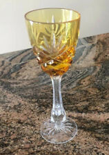 New listing Faberge Odessa Hock Liquor Stemware Cut Glass Amber/Gold From Edition Ii