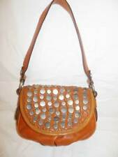 FOSSIL Fifty-Four Whiskey Tan Leather Studded Satchel Shoulder Bag WOW