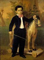 Dream-art Oil painting little boy portrait with his Favorite toy Trojans canvas