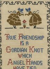 CROSS STITCH SAMPLER FRIENDSHIP GORDIAN KNOT ANGEL VICTORIAN GIRL ART EMBROIDERY