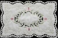 """Spring Embroidered Floral Cutwork Pastel Placemat 11x17"""" #3589 Creative Linens"""