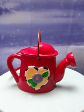 Mary Engelbreit Miniature Resin Watering Can Ornament Red,Yellow Heart 1.75""