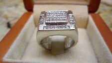 Heavy 20 GR Mens 18k White Gold 2 Carat Princess Diamond Ring Band SZ 8