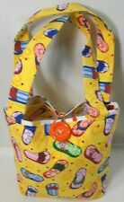 "Yellow Summer Beach Bag Handbag Tote Multicolor Sandals Bubbles Youth 7"" H 9"" L"