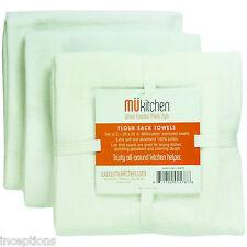 Set/3 MU Kitchen Cotton Flour Sack Tea Towels Solid White - NEW