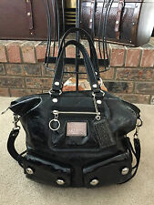 COACH Poppy Spotlight Large Black Patent Leather Handbag Shoulder Tote Bag RARE