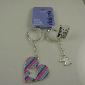 Bling key Key chain keychain Unicorn best friends heart set