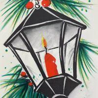 Vintage Mid Century Christmas Greeting Card Hallmark Black Lantern Red Candle