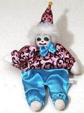 "10"" Porcelain Collectible Clown Doll Stuffed Silky Clothes Ceramic Head"