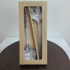 NEW Pottery Barn Silver Leaf Servers Serving Utensils