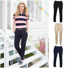 Straight Leg Cotton Blend Regular Size Trousers for Women