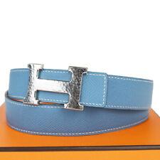 Authentic HERMES Constance H Buckle Belt Leather Blue Silver France 84EZ017