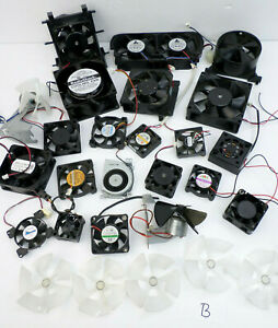 22 Assorted USED Cooling Fans Computer + 5 Extra Blades (Mostly 12VDC) Maker