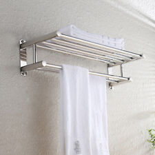 Double Chrome Towel Rail Holder Wall Mounted Bathroom Rack Shelf Stainless Steel