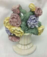 Vintage Cast Iron Flowers In Vase Doorstop