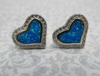 Blue Opal Heart Earrings - 925 Sterling Silver & Clear CZ Posts - Gift for Woman