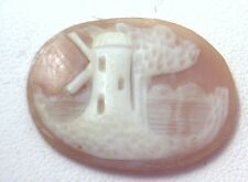 NOS Antique Vintage Hand Carved Oval Shell CAMEO Stone Windmill Tree Scene #N400