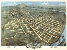 MAP CHATTANOOGA TENNESSEE 1871 LARGE WALL ART PRINT POSTER PICTURE LF1995
