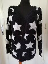 Cardigan UK 16 18 14? XL Black Fluffy Soft Star Print Open Front Blogger Trend