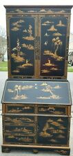Asian Secretary Desk w/ Hutch Chinoiserie Chinese Oriental Black Gold Painted