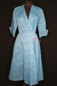 RARE VINTAGE 1950'S DEADSTOCK BLUE WAFFLE NYLON LONG DRESSING GOWN SIZE 6-8