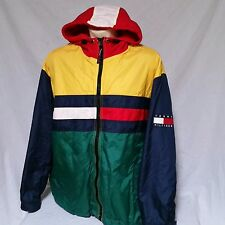 VTG Tommy Hilfiger Jacket Colorblock Coat Sailing Hooded 90s Flag Ski XXL 2XL