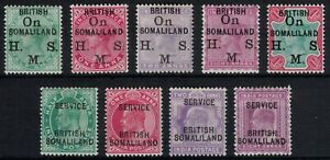 BRITISH SOMALILAND, 1903 OFFICIAL STAMPS, SG01 - 09, MOUNTED MINT.