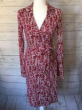 Diane von Furstenberg Vintage Red Ivory Wrap Dress Sz 4