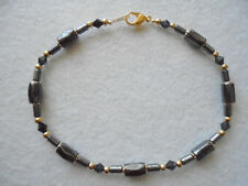 """Ankle Bracelet Black Hematite Magnetic Bead Black Crystals 9¼"""" GP J&K Originals"""