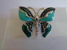Green enamel diamante Butterfly brooch-Aussie seller Brand new in packaging