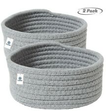 "2 pack Small Cotton Rope Storage Baskets /5""x 8""/Decorative Gray"