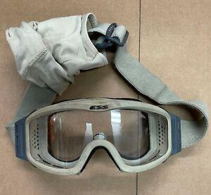 ESS NVG Z87+ Profile Goggles Ballistic Military Tactical Light Tan Clear lense