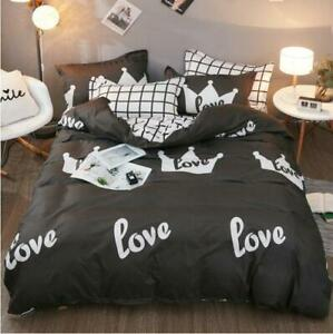 3D Black And White Crown Love KEP8255 Bed Pillowcases Quilt Duvet Cover Kay