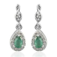 925 Sterling Silver Platinum Over Emerald Zircon Cluster Earrings Jewelry Ct 0.6