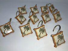 Set 12 Resin Palm Tree Breeze Vintage Shower Curtain Hooks Rattan Bamboo