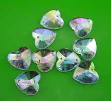 steeple faceted heart 14mm clear Ab Acrylic Crystal flat back Rhinestone sew