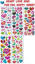 3D puffy Stickers HEARTS 💔💕💙💋 KISS LIPS LOVE SWEET HAPPY HUG Kitten Heart