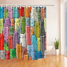 Colorful Cartoon Cat Fabric Shower Curtain Bathroom & 71*71inch With Hooks