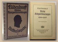 Ludendorff Meine Kriegserinnerungen 1921 Militär Geschichte Erzählungen xy