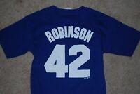 #42 Jackie Robinson Brooklyn Dodgers MLB Blue Jersey T-Shirt (Small)