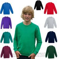 Children Kids Boys Girls Plain Sweatshirt Pull Over Jumper School Uniform Top