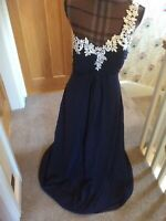 Ladies One Shoulder Beautiful Long Navy Blue Prom Evening Dress Ballgown Size 12