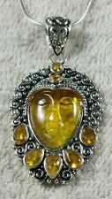 """2.2"""" FAUX YELLOW CITRINE AMBER GODDESS FACE STERLING SILVER PENDANT NECKLACE 18"""""""