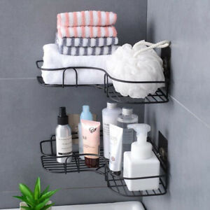 Kitchen Bathroom Shower Triangular Corner Caddy Rack Wall Shelf Organizer Holder