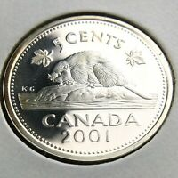 2001 Proof Canada 5 Cents Silver Uncirculated Canadian Elizabeth II Coin N699