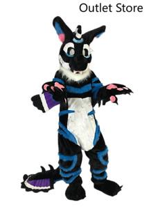 Fursuit Blue Long Fur Husky Fox Dog Mascot Costume Dress Cosplay Outfit Xmas