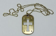 DOG TAG-CROSS CUTOUT - MUTED GOLD