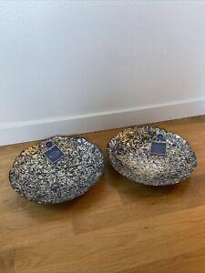 "2 Two 100% Genuine Silver Glass Decorative Plates Bowls 13"" Diameter AZZURRA NEW"