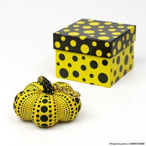 Yayoi Kusama Soft Sculpture Pumpkin Mascot Plush key Ring  yellow Japan NEW