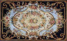 "80""x 48"" Handmade Marble Mosaic Floral Floor Rug Carpet Design Home Art  Decor"